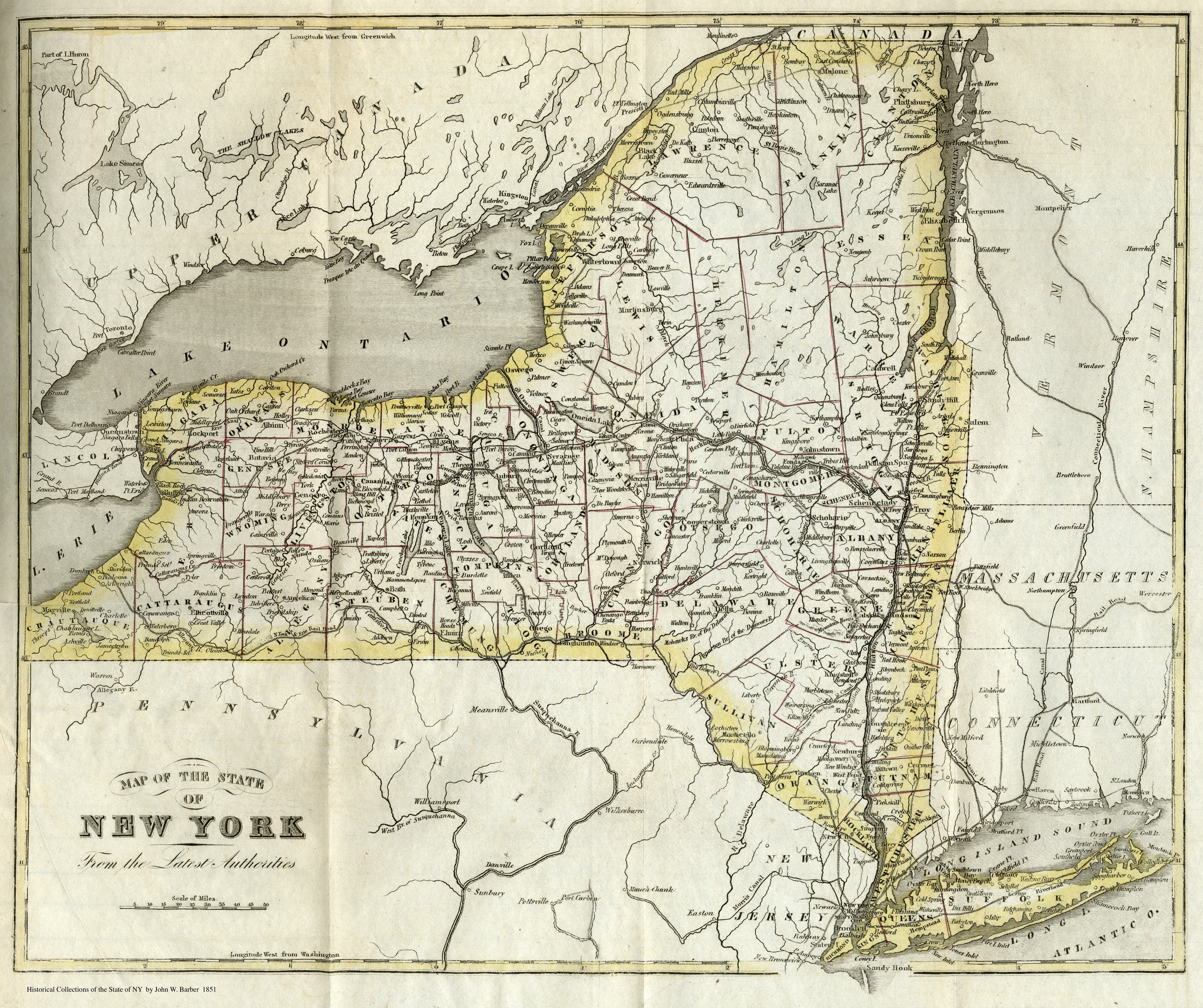 1851 map of ny from 1851 book larger image