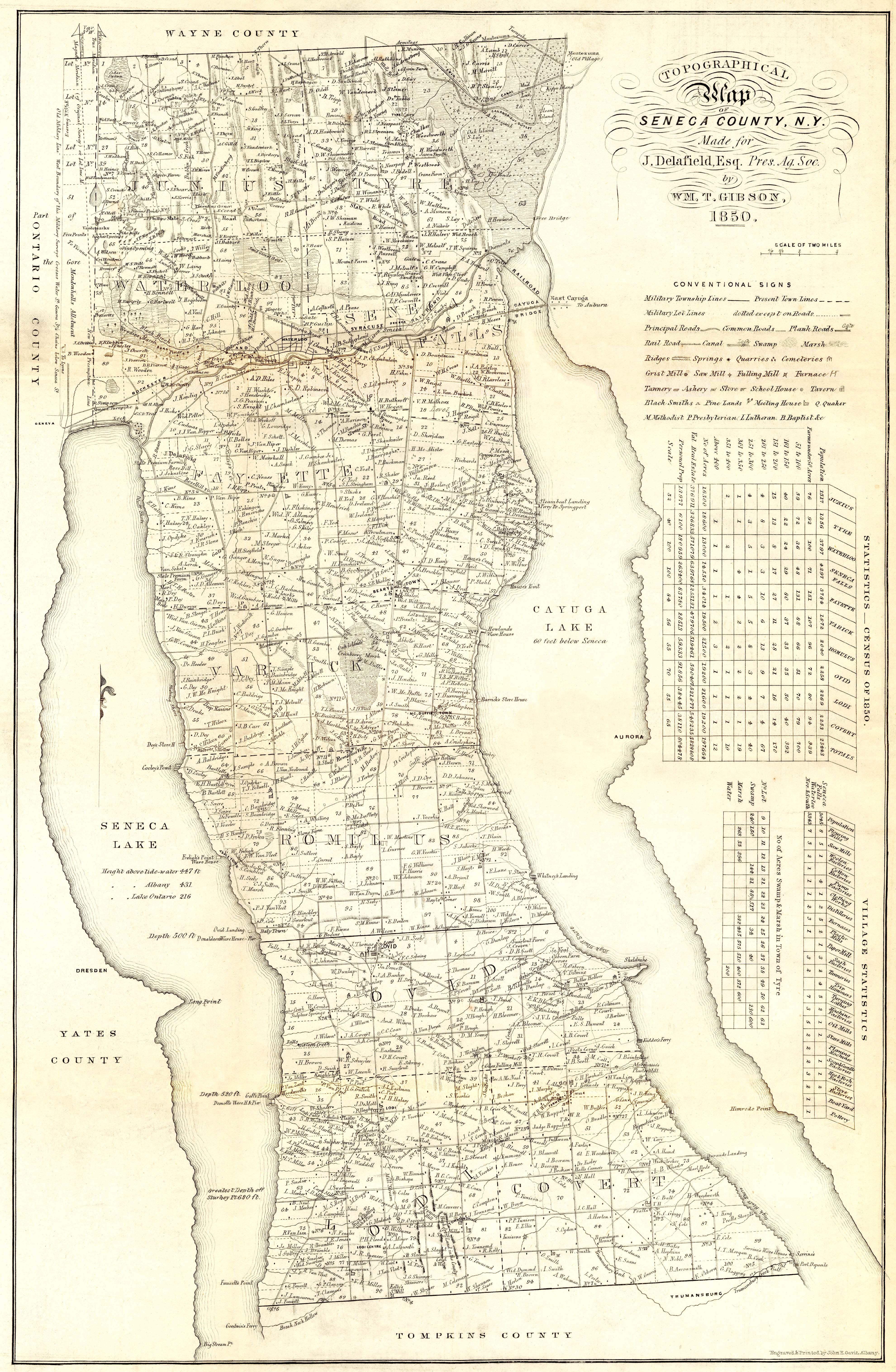 Map Of New York 1850.Cayuga County Nygenweb Project Map Page